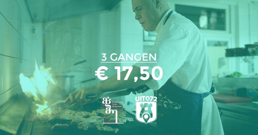Agam: 3 gangen menu voor slechts € 17,50