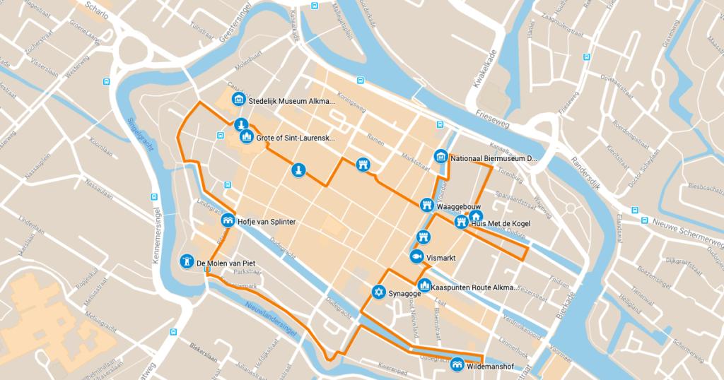 Kaasroute Alkmaar: kaart