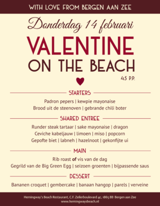 Hemingways menu Valentijnsdag 2019