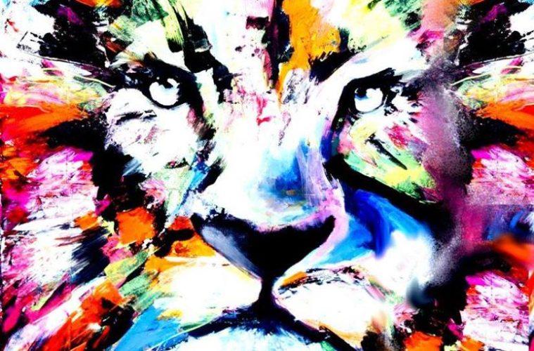 Artnight de Kade Gekleurde Leeuw