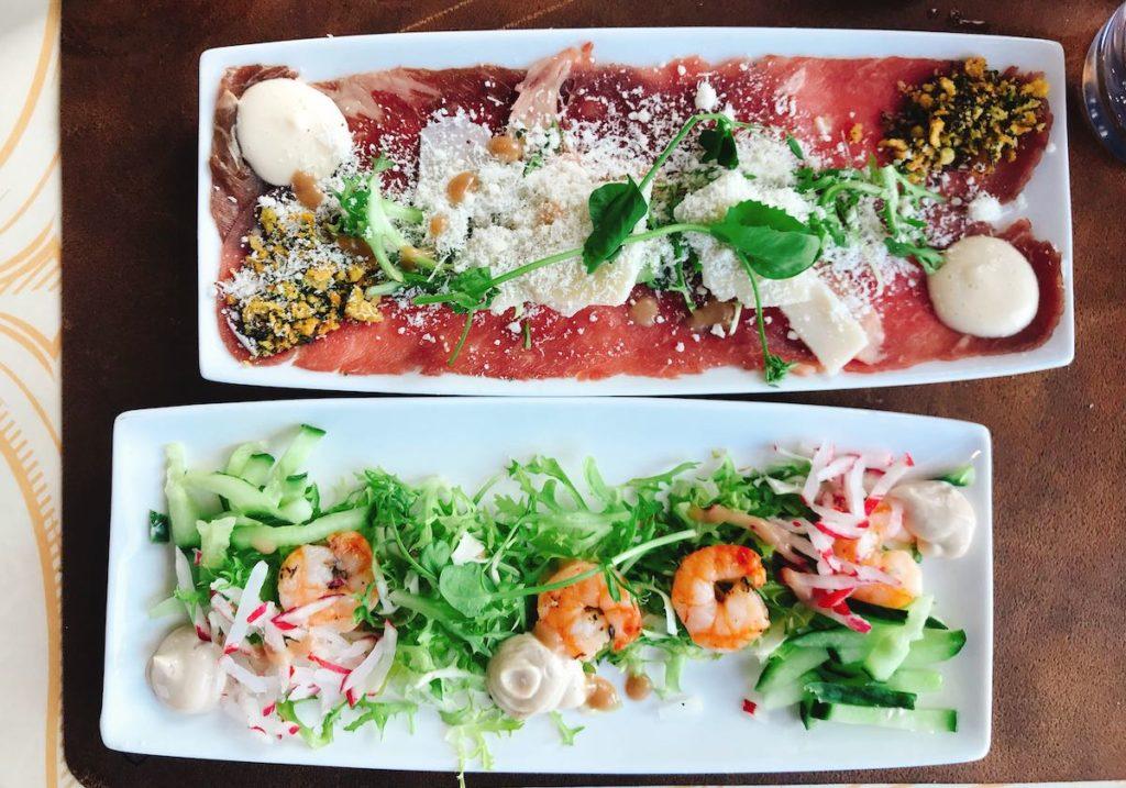 Dinner Train: carpaccio en tiger shrimps
