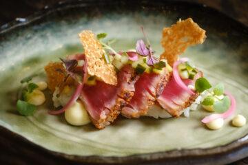 Sushi rijst met tonijn en ponzudressing