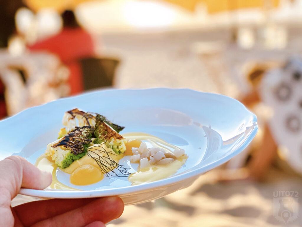 Verbrande romanesco met een crème van gele bloemkool en gele appel, gefermenteerde appelmoes, tartaar van scheermes, emulsie van gerookte boter en bronzen venkel (Neder × Noorderlicht)